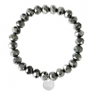 Sisa top faceted bracelets 8x6mm (stainless steel charm) Black-Amber Coating