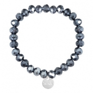 Sisa top faceted bracelets 8x6mm (stainless steel charm) Dark Blue-Pearl Shine Coating
