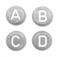 Acrylic letter beads mix Silver Dark Grey-White