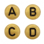 Acrylic letter beads mix Gold-Black