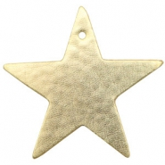 DQ European leather pendants metallic star Light Gold