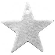 DQ European leather pendants metallic star Silver
