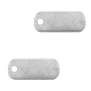 DQ European metal charms tag oblong 5x12mm Antique Silver (nickel free)
