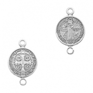 DQ European metal charms connector Jesus 10mm Antique Silver (nickel free)