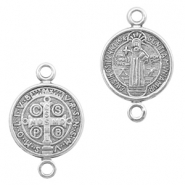 DQ European metal charms connector Jesus 12mm Antique Silver (nickel free)