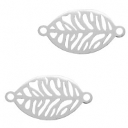Stainless steel charms connector leaf Silver