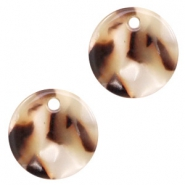 Resin pendants round 12mm Mixed Beige Brown
