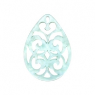 Resin pendants drop baroque 38x27mm Bleached Aqua