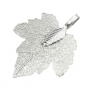 Charm with 1 loop metal leaf Platinum Silver (nickel free)