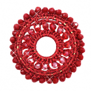 Crochet pendants round 44mm with faceted beads Port Red