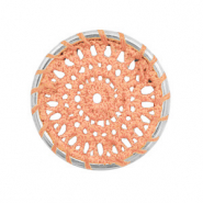 Crochet pendants round 33mm Silver-Peachy Orange