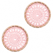 Crochet pendants round 22mm Gold-Light Pink
