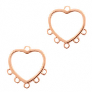 DQ European metal charms connector heart with 5 loops Rose Gold (nickel free)