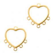 DQ European metal charms connector heart with 5 loops Gold (nickel free)