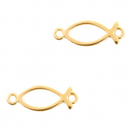 DQ European metal charms connector fish Gold (nickel free)