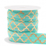 Elastic ribbon Moroccan pattern Turquoise-Gold