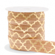 Elastic ribbon Moroccan pattern Camel Brown-Gold