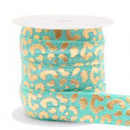 Elastic ribbon leopard Turquoise-Gold