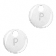 Metal charms initial P Antique Silver (nickel free)