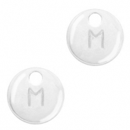 Metal charms initial M Antique Silver (nickel free)