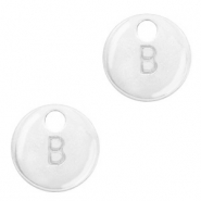 Metal charms initial B Antique Silver (nickel free)