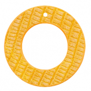 Faux leather pendants round crocodile Warm Yellow
