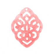 Resin pendants rhombus baroque Living coral pink