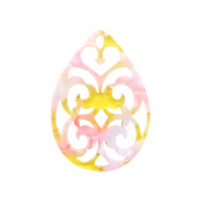 Resin pendants drop baroque Pink-Yellow