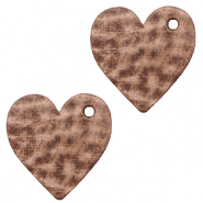 DQ European leather charms heart Sequoia Brown