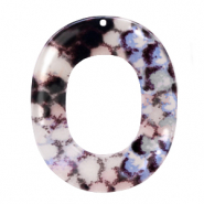 Resin pendants oval 48x40mm snake shiny Grey-Dark Blue