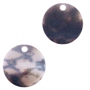 Resin pendants round 19mm snake matt Grey-Dark Blue