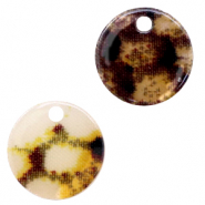 Resin pendants round 12mm snake shiny Yellow-brown
