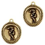 DQ European metal charms seahorse Antique Bronze (nickel free)