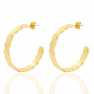 DQ European metal findings creole earrings 38mm irregular Gold (nickel free)