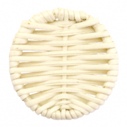 Braided rattan pendants round 40mm Natural Beige