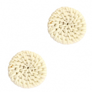 Braided rattan pendants round 20mm Natural Beige