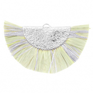 Tassels charm Silver-Light Moss Green