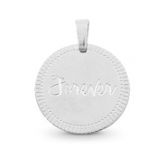 "Stainless steel charms round 15mm ""forever"" Mix&Match Silver"