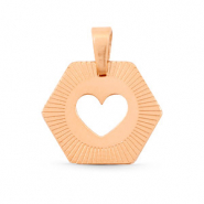 Stainless steel charms Hexagon heart Mix&Match Rose Gold