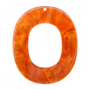 Resin pendants oval 48x40mm Flame Orange
