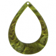 Resin pendants drop 45x34mm Olive Green