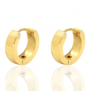 Stainless steel earrings creole flat 13mm Gold