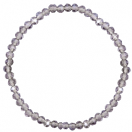 Top faceted bracelets 4x3mm Grey Crystal-Pearl Shine Coating