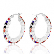 Stainless steel earrings creole 30mm colour strass Silver
