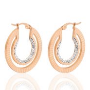 Stainless steel earrings creole 30mm strass Rose Gold