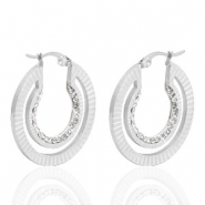 Stainless steel earrings creole 30mm strass Silver