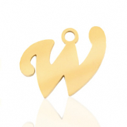 Stainless steel charms initial W Gold
