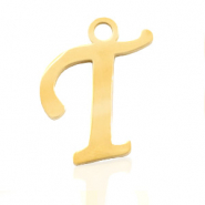 Stainless steel charms initial T Gold