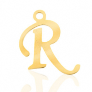 Stainless steel charms initial R Gold