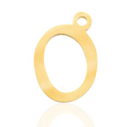 Stainless steel charms initial O Gold